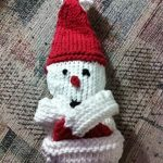 Knitted Snowman gift card cozy