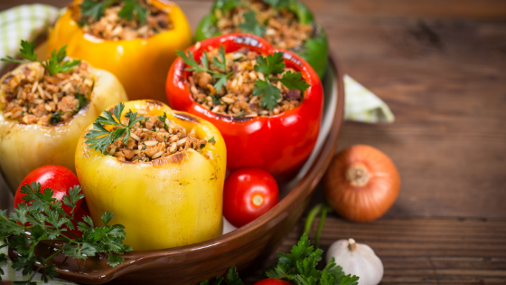 healthy stuffed peppers in a dish
