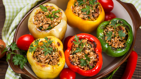 healthy stuffed peppers in a baking dish