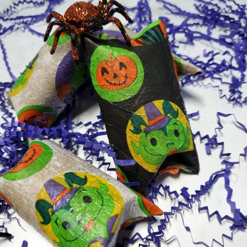 Halloween treat bags on a white counter