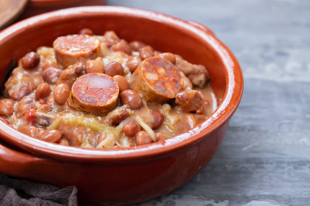 red beans and sausage in a bowl