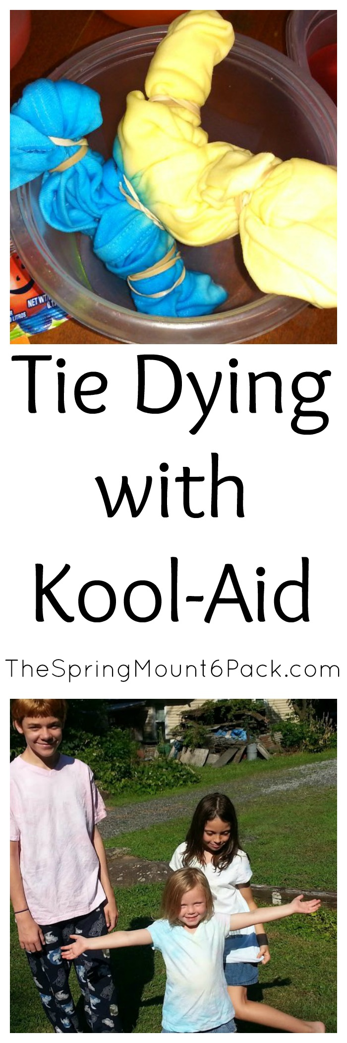 Kids love crafts. It can be lots of fun to try tie dying with Kool-Aid. Kids love it. It is non toxic if the sneak some and cleans up easily.