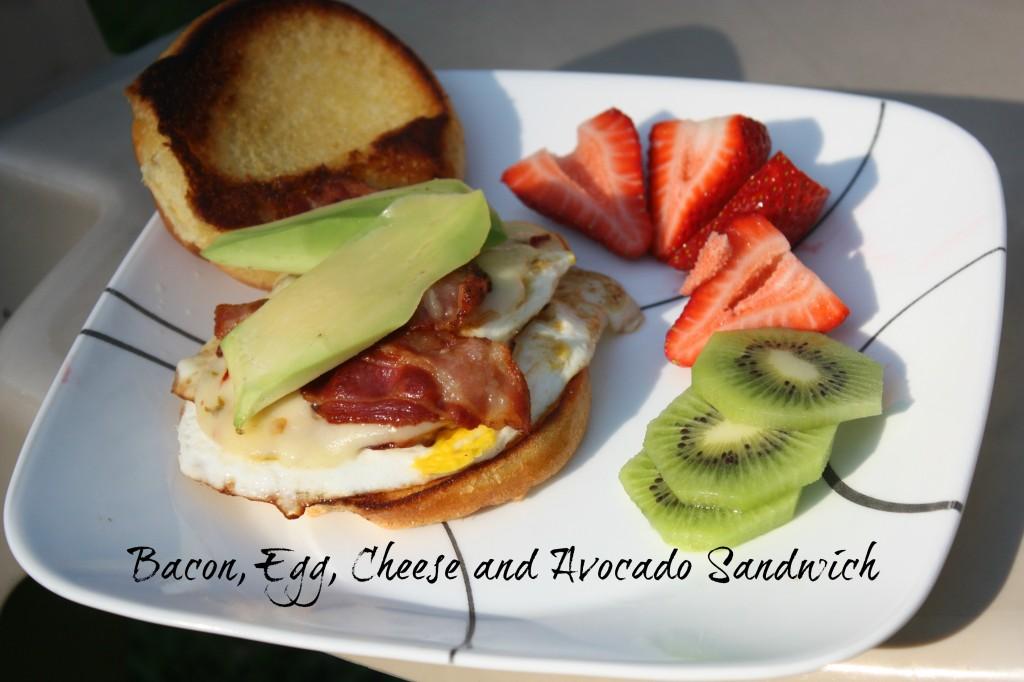 Avocado Recipes- Bacon, Egg, Cheese and Avocado Sandwich