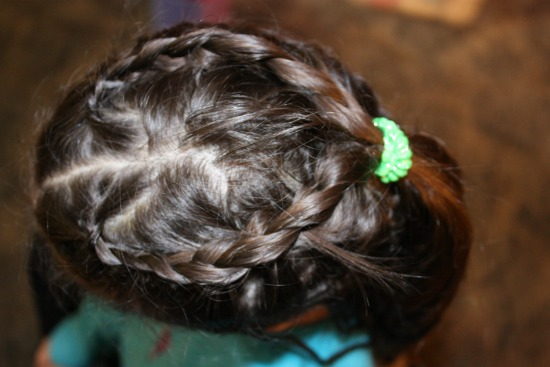 French Braid heart on top of head