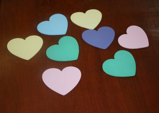 Paint the hearts pastel colors for a Valentine's Day Sweetheart wreath