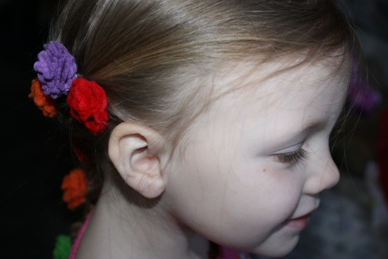 Getting the Disney's Tangled Braid Flowers in her hair