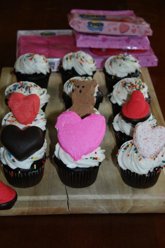Making Valentine Peep Cupcakes
