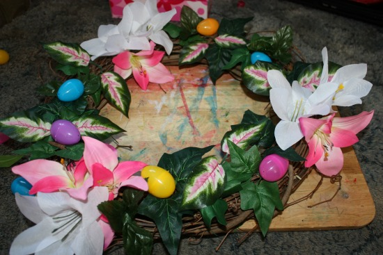 Easter Wreath using supplies from Dollartree.com- everything arranged