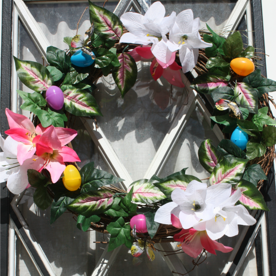 Making a beautiful Easter Wreath using supplies from Dollartree.com