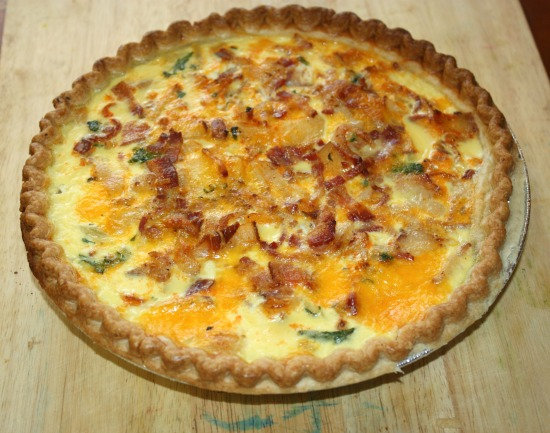 Spinach and Cheddar Quiche recipe fresh from the oven