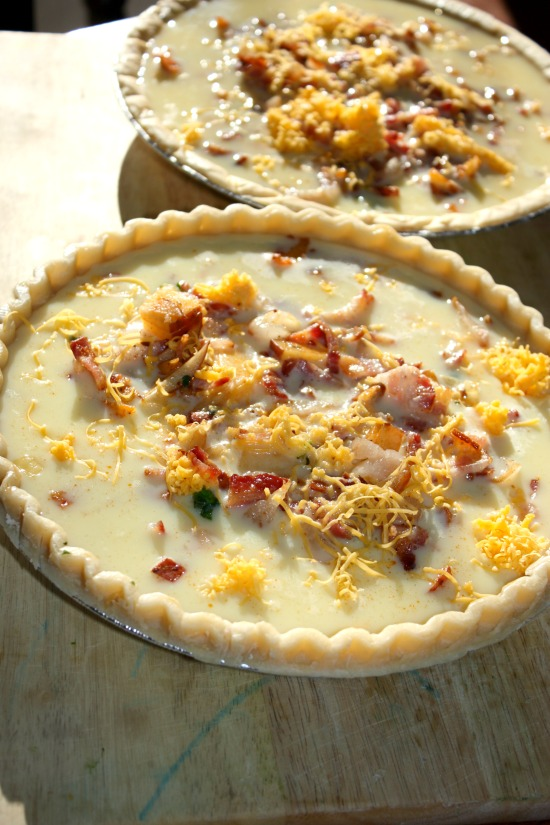 Spinach and Cheddar quiche recipe FIlled pie shells