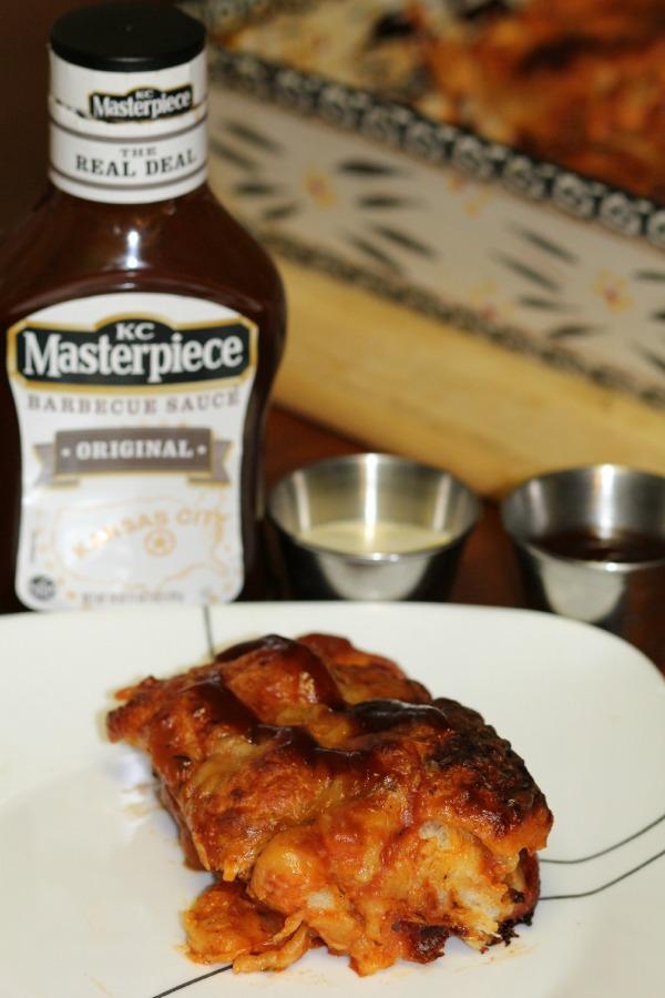 BBQ Chicken Pizza Pull Apart Bread Slice