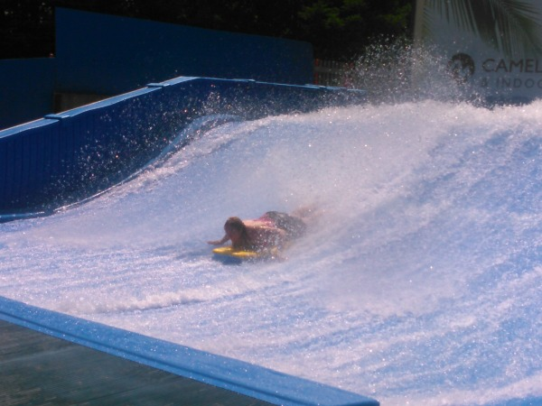 Making Memories at CamelBeach water park- trying the Flow Rider- So Cool