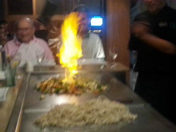Setting the veggies on fire Dinner at Desaki in the Poconos Hibachi and Sushi