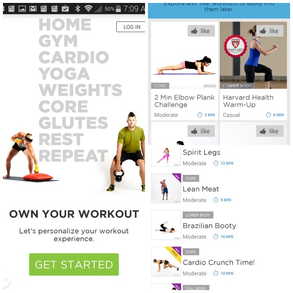 Workout trainer on the Samsung Galaxy S5 Sport