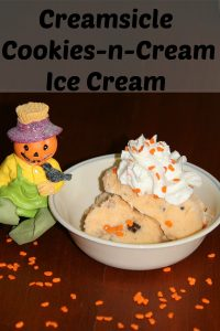 Make your own Creamsicle Cookies N Cream Ice cream - Perfect for a Halloween Treat