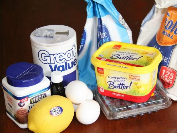 Ingredients for Blueberry Lemon pound cake