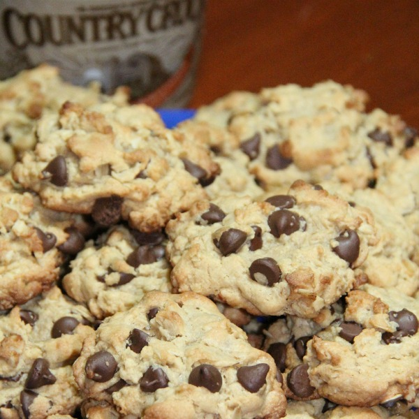 Peanut Butter Chocolate Chip Oatmeal Cookies- upclose