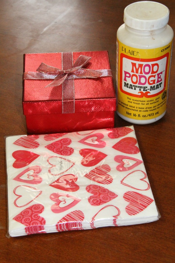 DIY Valentine gift box supplies