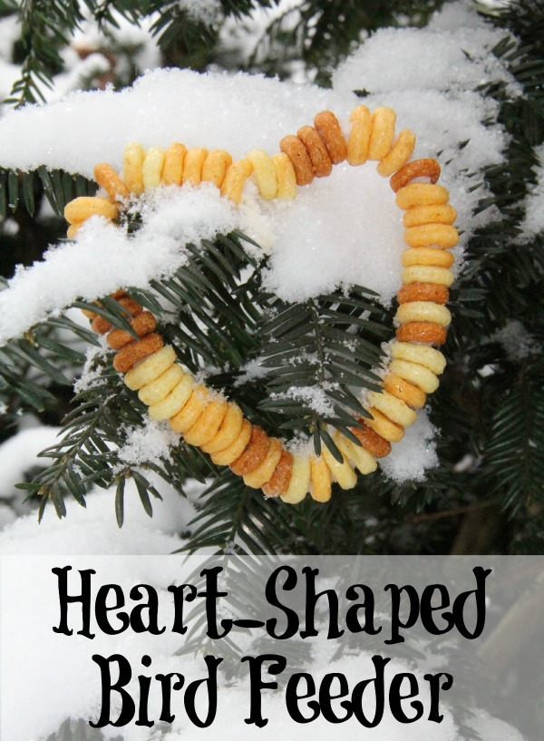heart shaped cereal bird feeder- Valentine's Day craft for preschooler