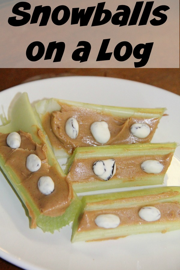 Snowball on a log- easy snacks for kids