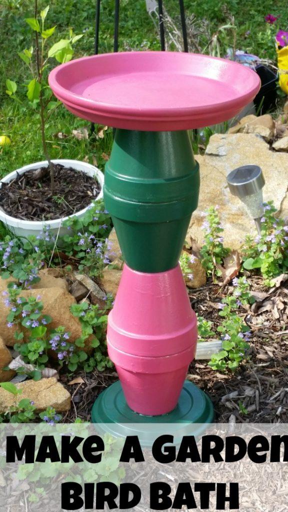 Don't forget about the birds this summer. DIY bird bath flower pot crafts garden crafts