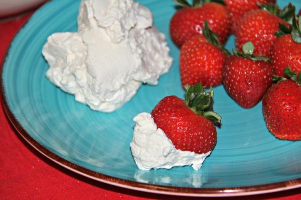 Maple Vanilla Whipped Cream on strawberries