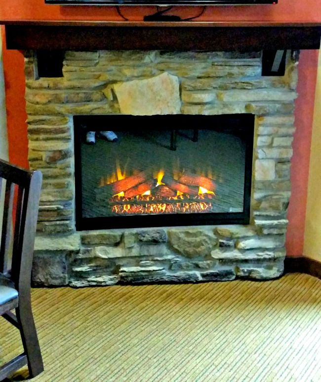 Fireplace in the room at Camelback lodge