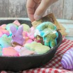 Peeps s'mores dip with graham crackers