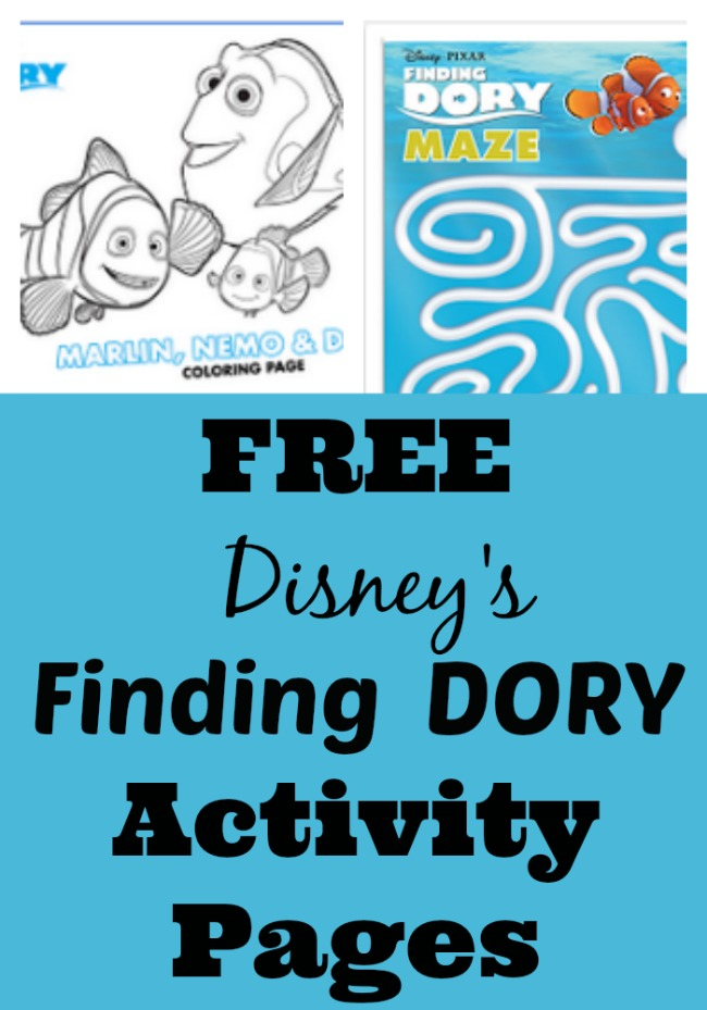 Free Disney's Finding Dory coloring pages, Finding Dory activity pages