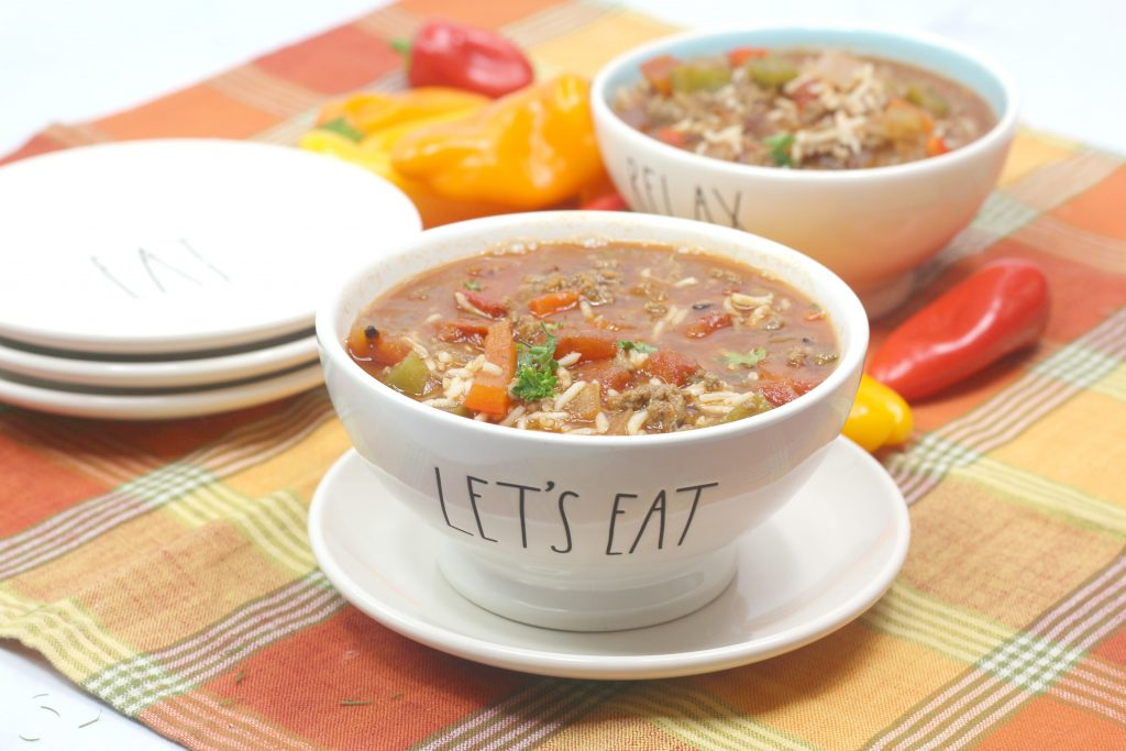 stuffed pepper soup in a white bowl