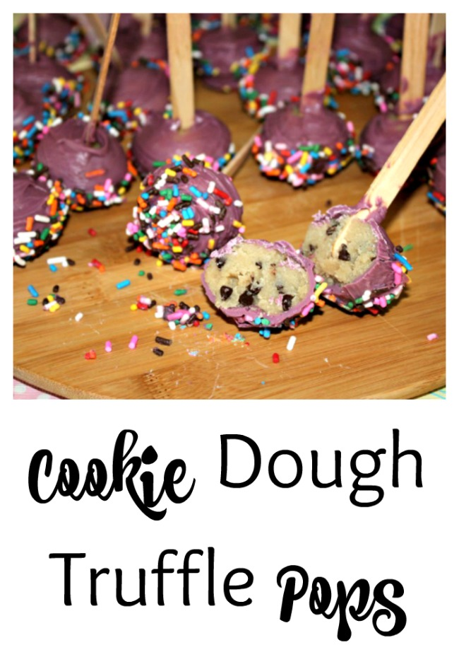Love cookie dough? Try these Cookie Dough Truffle Pops that are safe to eat since they have no eggs.