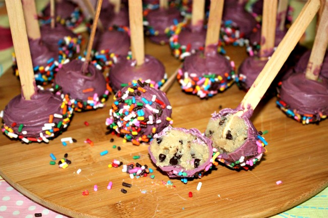 Cookie Dough Truffle pops, easy to make and safe because they contain no eggs