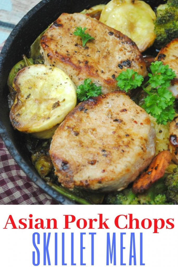 asian pork chops in a cast iron skillet for vegetables for pinterest