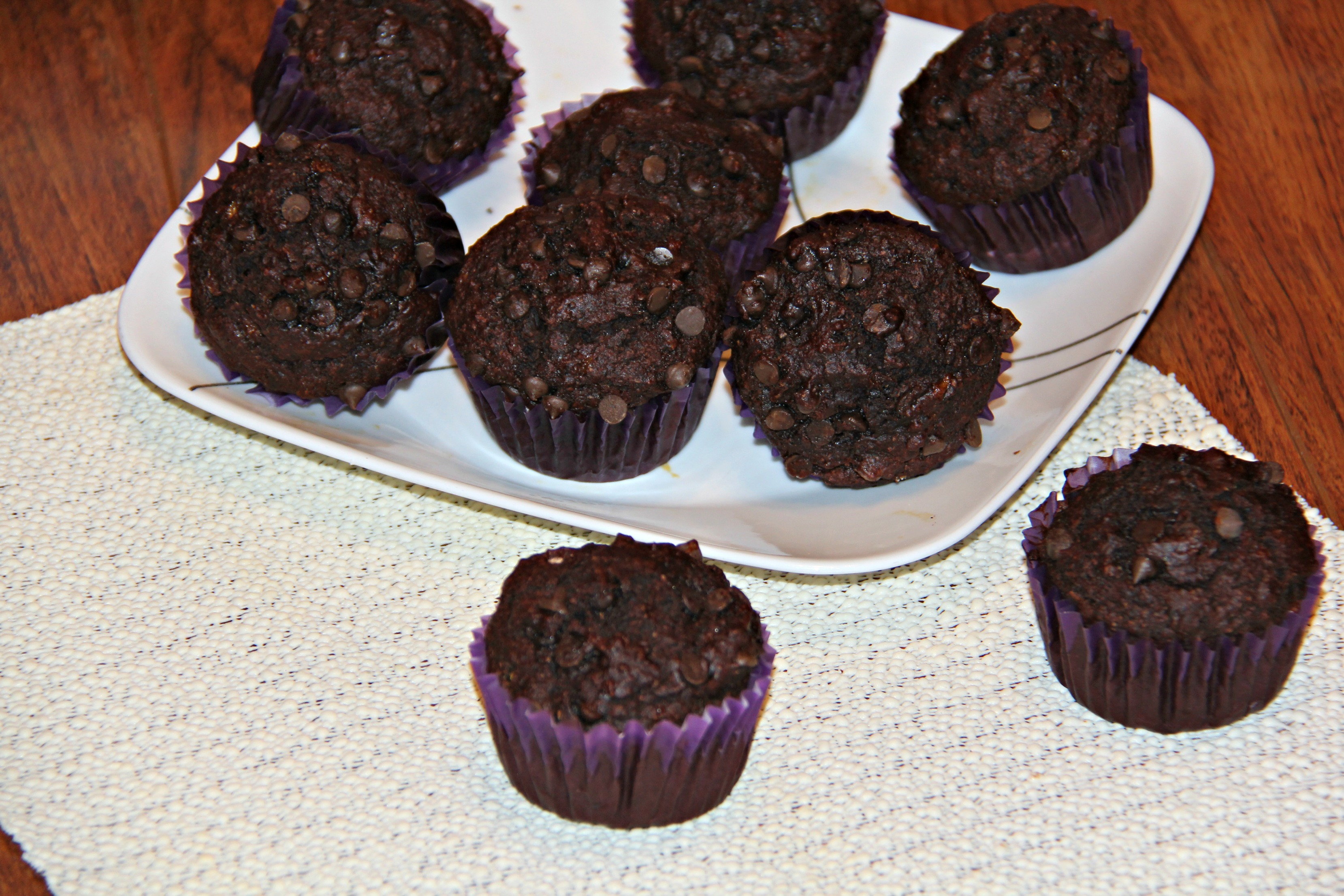 Double Chocolate Muffins: Made with whole wheat, Agave and coconut oil, these muffins taste great and are not bad for you
