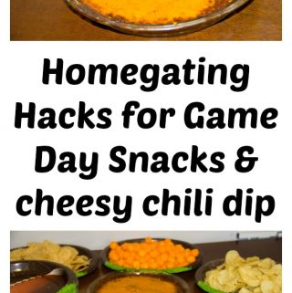 Homegating Hacks for Game Day Snacks & cheesy chili dip