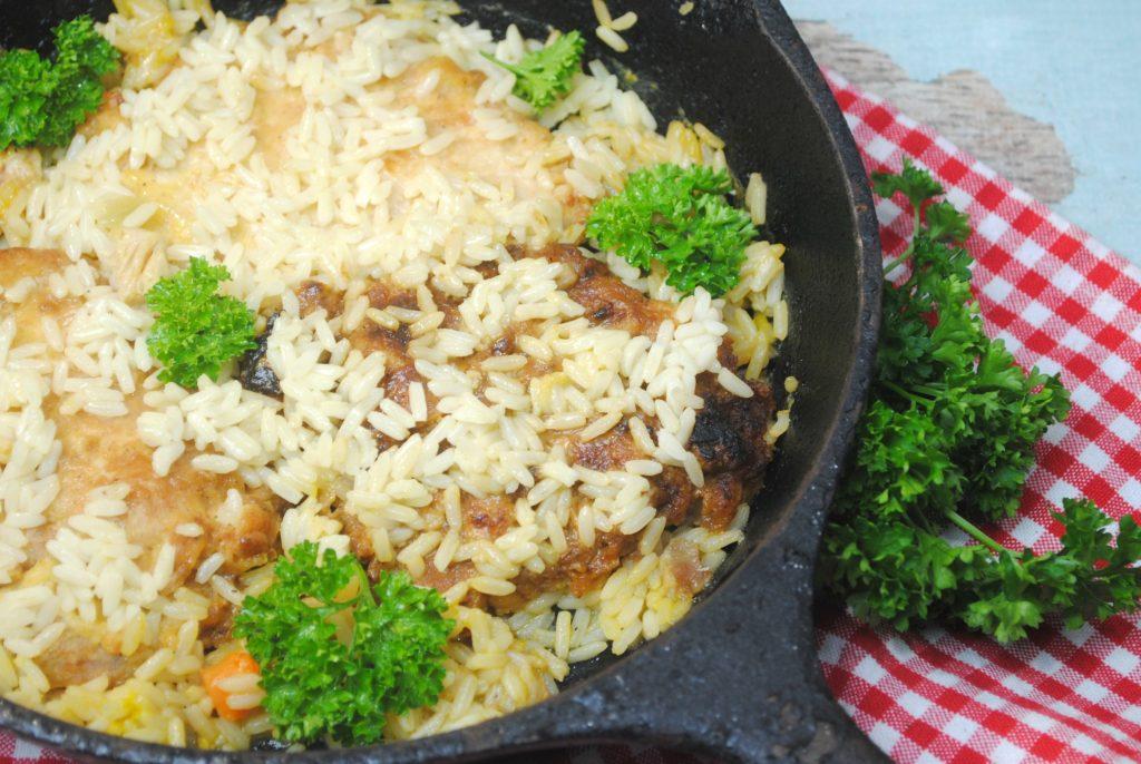 cajun pork chops in a skillet
