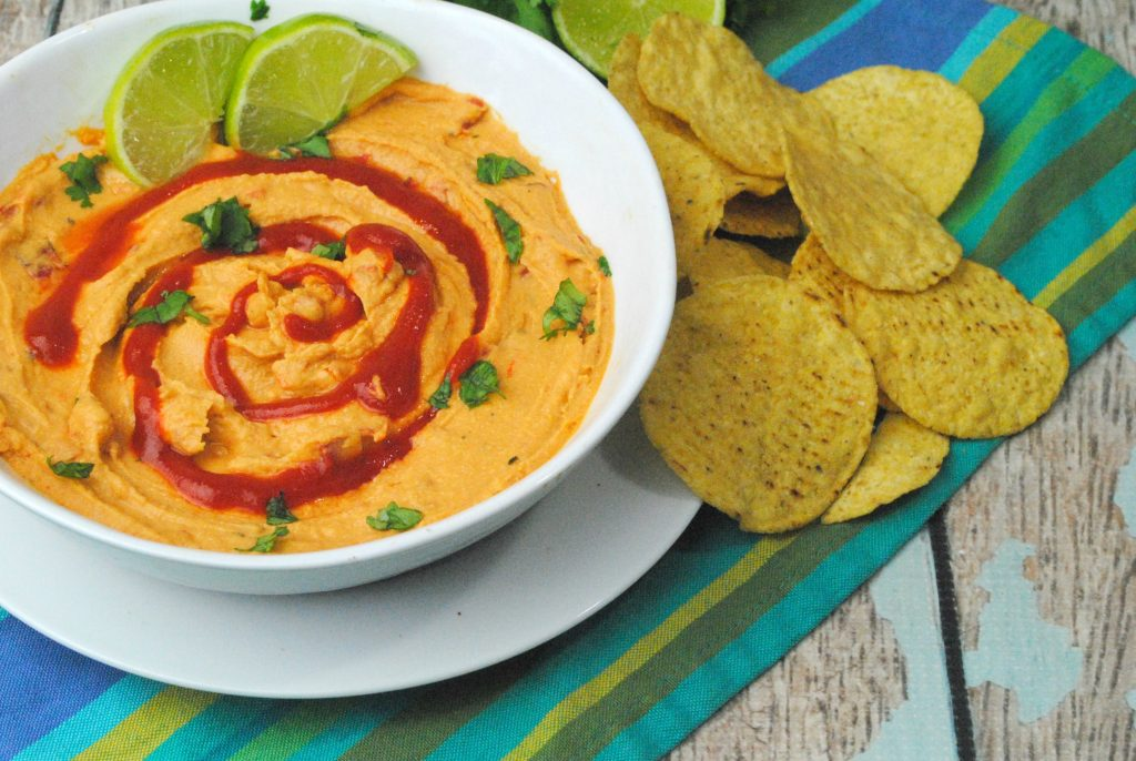 Sriracha Lime Hummus is a spicy twist on a hummus recipe.