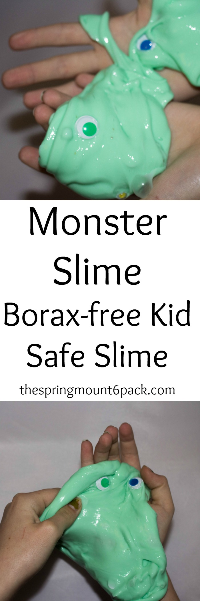 Want to make slime without Borax This is a simple Borax free slime recipe that kids will love thanks to the silly googly eyes that make this monster slime