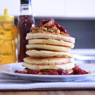 Looking for a Mother's Day Breakfast idea? Mom would love to have breakfast in bed enjoying Maple Cranberry Granola Pancakes : Mother's Day Breakfast Idea