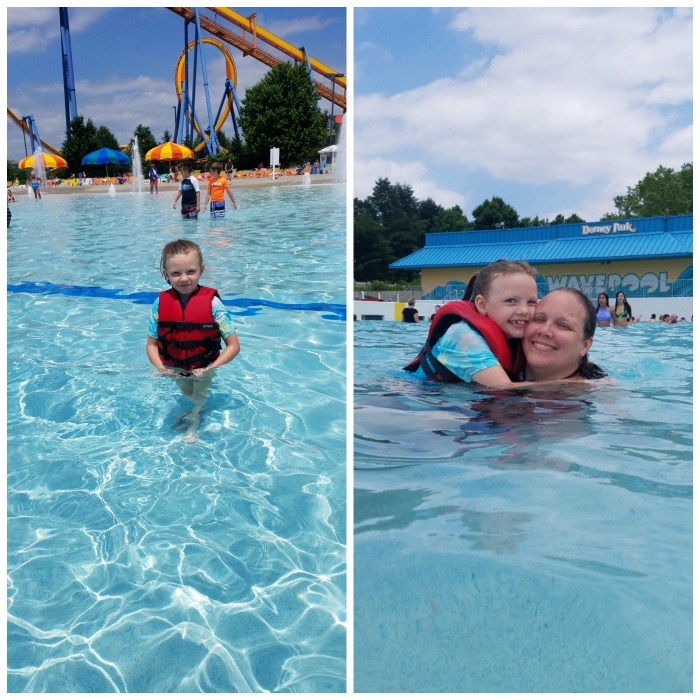 Willow and I playing in the wave pool at Wild Water Kingdom and Dorney Park