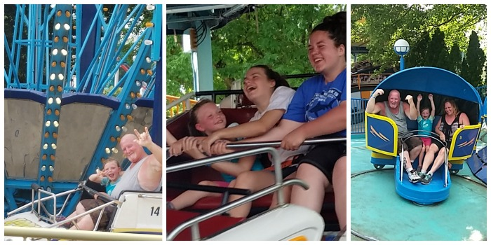 Willow on some of the bigger rides outside of Planet Snoopy at Dorney Park