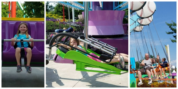 Willow riding some of her favorite rides in Snoopy Land at Dorney Park