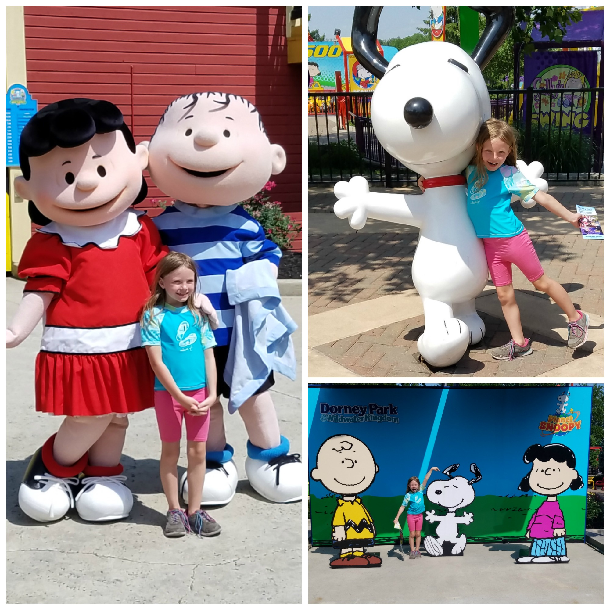 Willow with some of the Peanuts gang in Planet Snoopy at Dorney Park