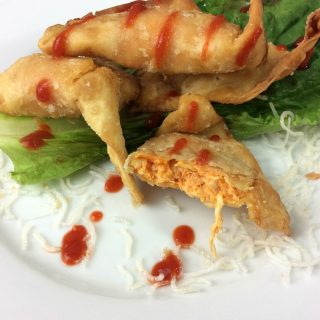 The Buffalo Blast is filled with Chicken, Cheese and Spicy Buffalo Sauce in a fried wanton wrapper. It is fried to add the perfect amount of crunch.