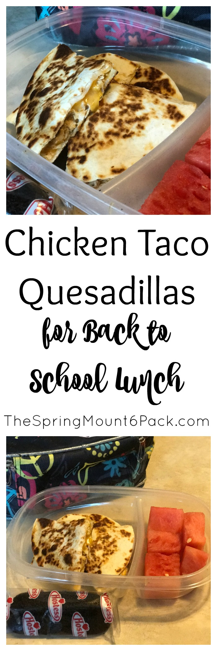 Looking for back to school lunch ideas. Try chicken taco quesadillas. It is a simple way to use left over for kids lunches