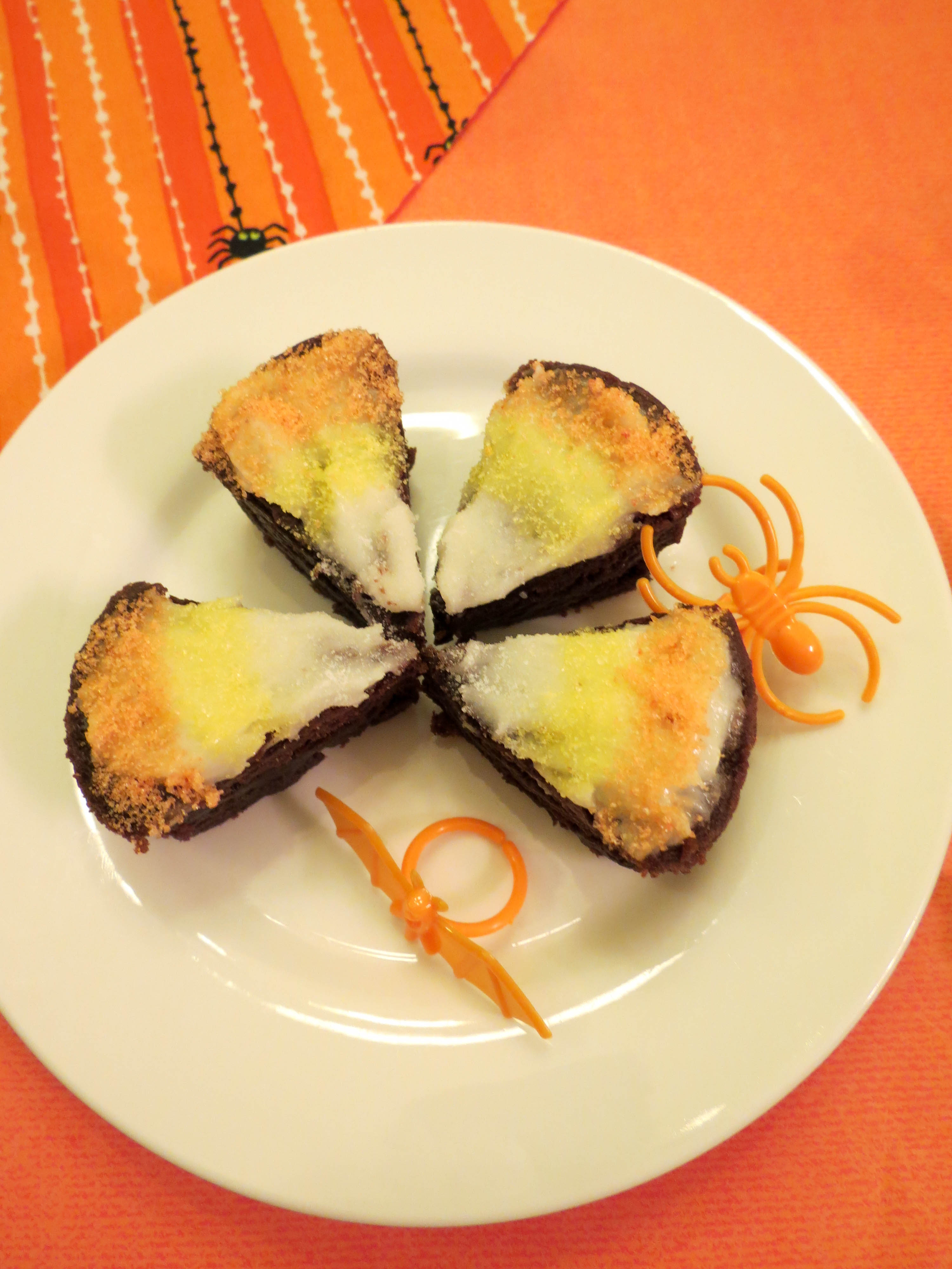 Make these simple candy corn brownie bites that are a perfect fall treat and great for Halloween