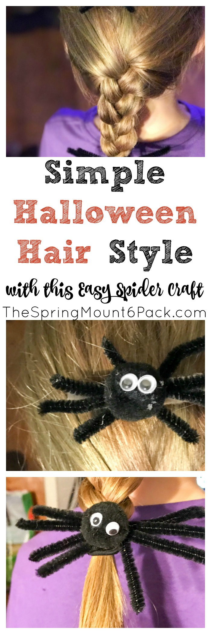 A simple Halloween hairstyle. Create a fun spider craft that can double as a Halloween hair accessory. We created Halloween hair ties and Halloween barrette with our spiders.