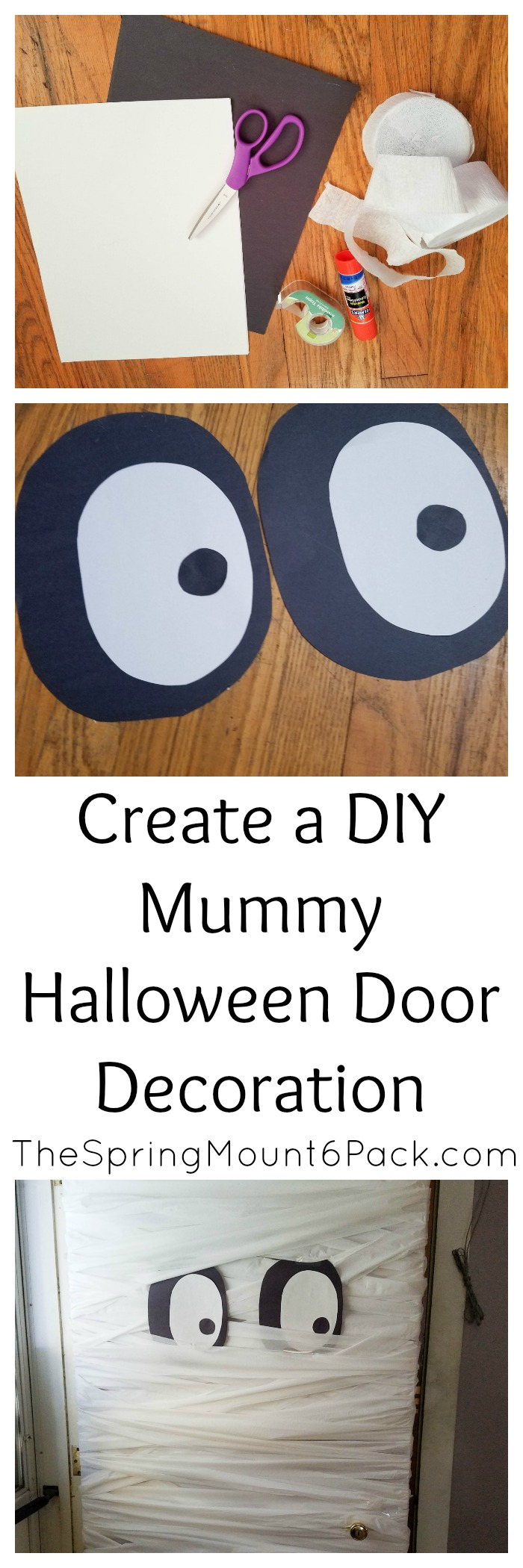 Create this mummy Halloween door decoration with only a few supplies. It is a simple diy Halloween decoration that costs next to nothing and is simple to make