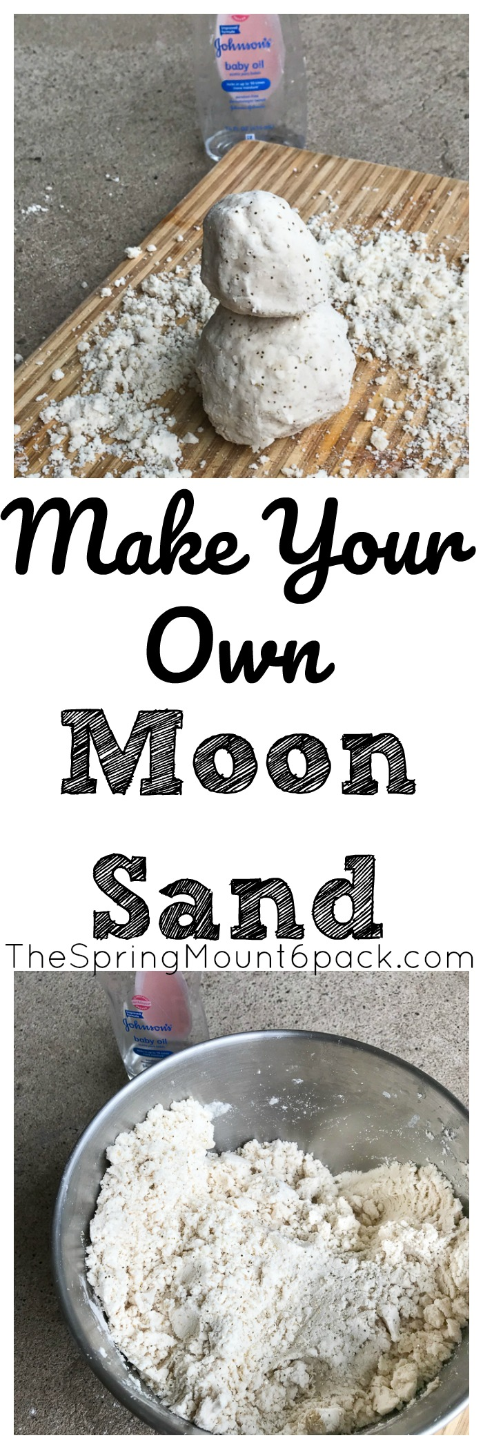 It is so simple to make your own moon sand. With only 2 household ingredients, save a fortune and lets the kids play with moon sand.